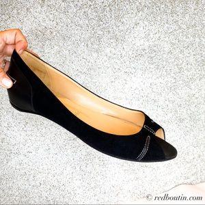 Christian Louboutin Black Suede Open toe flats